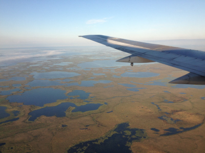 Flying over the Alaskan tundra